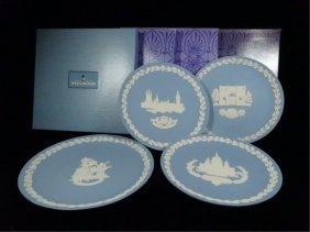 4 Pc Wedgwood Blue Jasperware, Christmas Plates From
