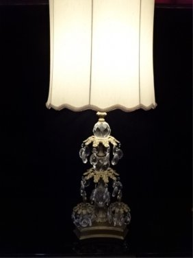 Large Ornate Crystal And Brass Lamp, Mid 20th C, With