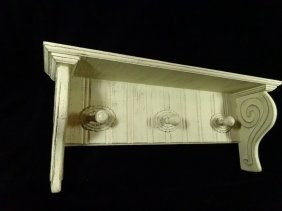 Painted Coat Rack / Wall Shelf, Distressed Style