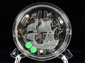 Lalique Crystal Ashtray, Santa Maria Clipper Ship,