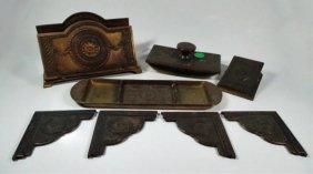 Antique Jennings Brothers Bronze Desk Set, Includes
