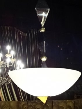 1970's Modern Chrome And Brass Pendant Lamp, With White