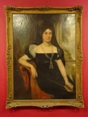 Large 19th C. Oil Painting, Portrait Of A Lady, Very