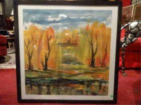 Lin Fengmian Signed Watercolor And Ink Landscape With
