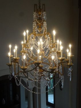Spectacular 5' Tall Gilt Metal And Crystal Chandelier,