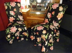 Pair Dorothy Draper Style Skirted Chairs, Floral Print