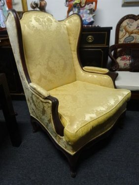 French Style Wing Back Chair, New Gold Tone On Tone