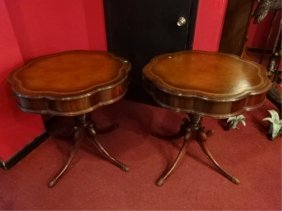 Pair Mahogany Pedestal Tables, Embossed Leather Tops,