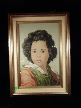 Needlepoint Portrait Of A Young Lady, Framed Size