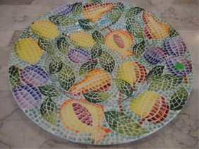 Large Handpainted Italian Ceramic Platter, With Painted
