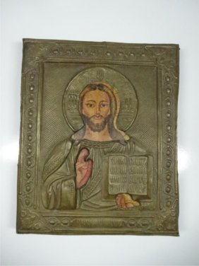 Russian Icon, Painted Metal Over Wooden Frame, Approx 5