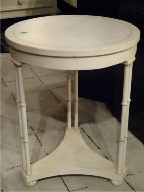 Baker Furniture Faux Bamboo Side Table, White Finish,