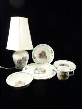 12 Pc Wedgwood Nursery Rhyme Dinnerware & Lamp,