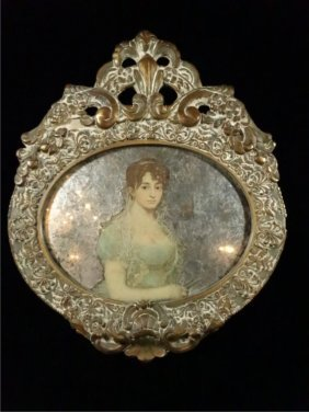 """Framed Print, Woman With Mirrored Back , Approx 13.5"""" X"""