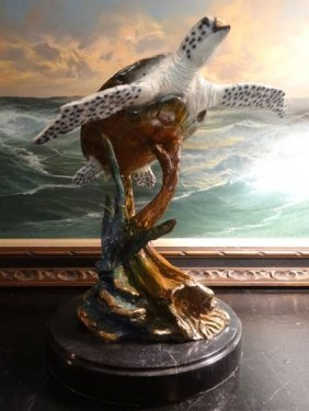 Patinated Bronze Sculpture, Sea Turtle On Marble Base,