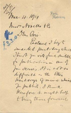 Elgar Edward: (1857-1934) English Composer. A.l.s.,