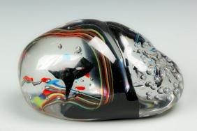 Elio Raffaeli (Italian, B. 1936) Ovoid Glass Sculpture