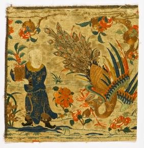 18th C. Chinese Embroidery Of Man With Peacock