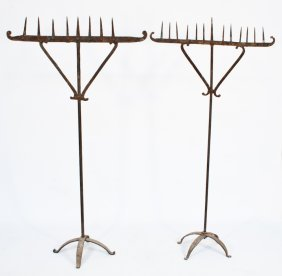 Pair Of Wrought Iron Church Candle Stands