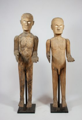 Pair Of Carved Wood Male/Female Guardian Figures