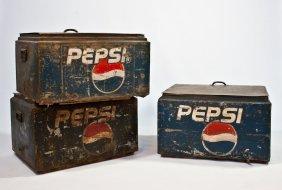 Three Vintage Metal Pepsi Cola Servers