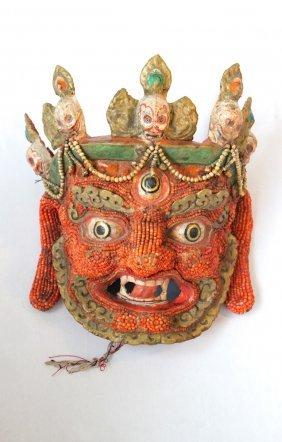 Dharmapala (Wrathful Deity) Coral Dance Mask