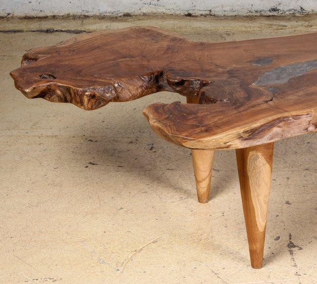 Teak Root Coffee Table Base: Free Edge Coffee Table, Teak Root And Resin : Lot 65