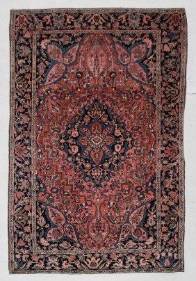 "Antique Sarouk Ferahan Rug: 4'2"" X 6'4"" (127 X 193 Cm)"