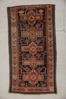 "Antique Kazak Prayer Rug: 3'7"" X 6'7"""