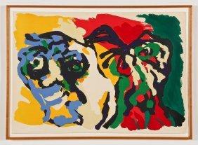 """Karel Appel (dutch, 1921-2006) """"two Heads"""", 1969, Ea"""