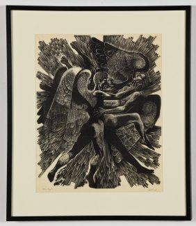 """Lynd Ward (american, 1905-1985) """"three Angels"""", 1969"""