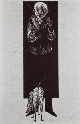 """Leonard Baskin (american, 1922-2000) """"man With Dog"""","""