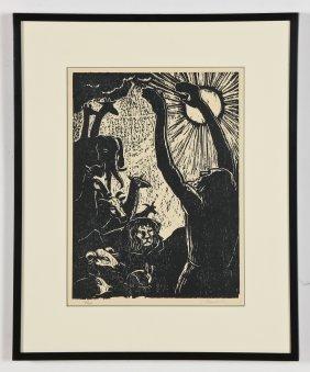 "Jakob Steinhardt (israeli, 1887-1968) ""noah"", Woodcut"