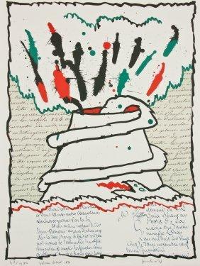 """Pierre Alechinsky (belgian, B. 1927) """"volcano Decrit"""","""