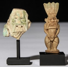 2 Ancient Egyptian Faience Bes Figures