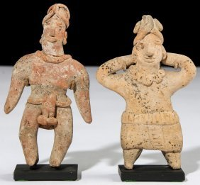 2 Ancient Pre Columbian Clay Figures, Colima