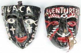 2 Vintage Mexican Negrito Dance Masks
