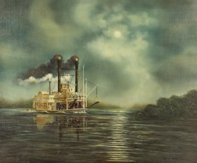 Paragut Steam Boat Painting (20th C.)