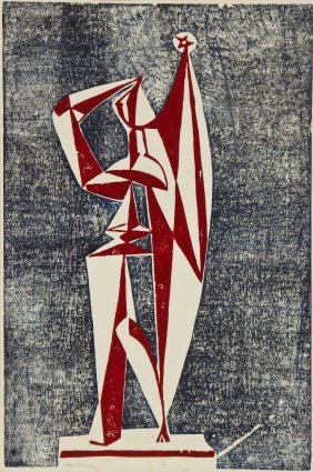 A.p. Hankins (1903-1963) Abstract Color Woodcut