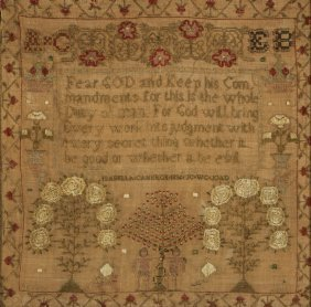 Dated 1836 Adam And Eve Sampler