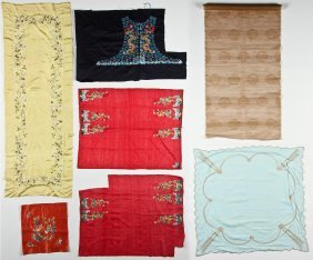 Collection Of 7 Antique Chinese Silk Embroideries