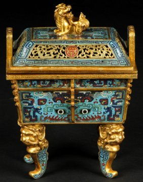 Fine Antique Chinese Gilt Cloissone Censer