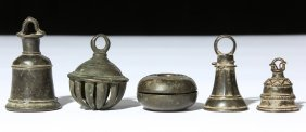 Five 19th C. Bronze Bells