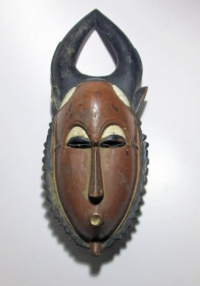 Old Painted Baule Mask With Horns, West Africa