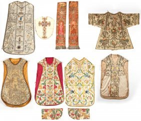 Fine Collection Of Antique Ecclesiastical Textiles