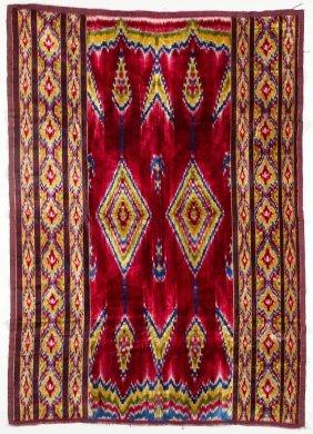 """Persian Silk Velvet Ikat: 41"""" X 59"""""""
