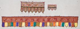 3 Old Indian Textiles Embroidered With Mirror Work