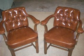Pair Herman Schlorman 1960s Leather Chairs