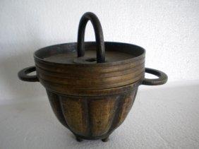 Chinese Heavy Bronze Pudding Warmer