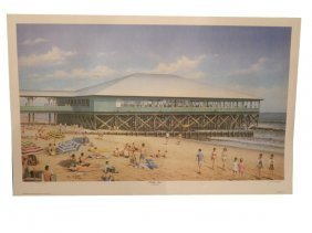 """Unframed Lithograph By Jim Booth """"Folly Pier"""" 1991"""